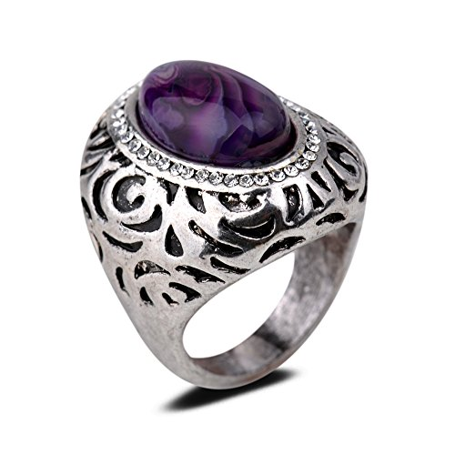 Yazilind Vintage Antique Oval Cut Purple Agate Retro Silver Plated 6.5 Ring Women