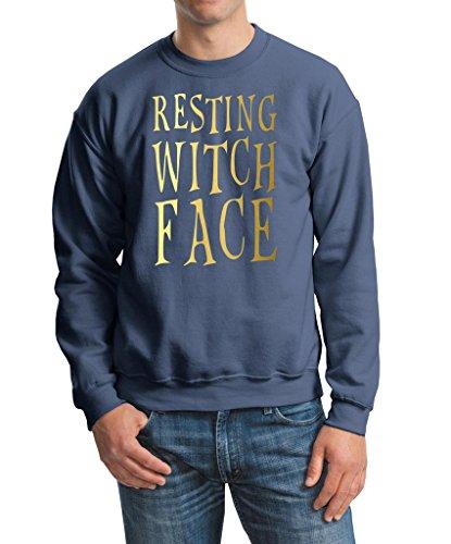 Happy Halloween strega Resting Face Felpa da uomo oro Tutti i colori Indigo Blue S Adatta a petto 91-96 cm