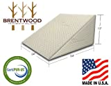 "Brentwood Therapeutic Foam Bed Wedge Sleep Pillow - 100% Made in USA - CertiPUR-US - Washable Natural Bamboo Cover, 12"" x 24"" x 24"""