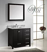 Nice On sale Virtu USA GS WMSQ ES Caroline Avenue Inch Bathroom Vanity with Double Square Sinks in Espresso and Italian Carrara White Marble