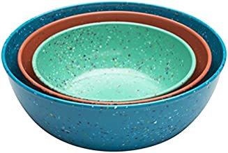 Zak! Designs Confetti Nested Serving Bowls (Set of 3), Durable and BPA-free Melamine, Tropics
