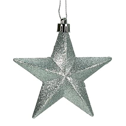 Silver Glittered Star Christmas Ornaments Set of 6 by Christmas Direct
