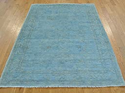 4 x 6 HAND KNOTTED SKY BLUE OVERDYED PESHAWAR ORIENTAL RUG G22810