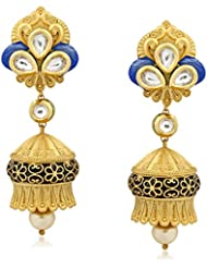 VK Jewels Fabulous Kundan Gold Plated Alloy Jhumki Earring Set For Women & Girls -ERZ1295G [VKERZ1295G]