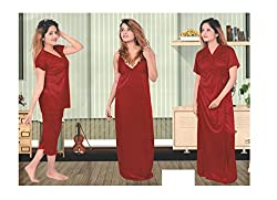 Indiatrendzs Exclusive Women Satin Nightwear Red 4pc Set Honeymoon Nighty, Robe, Top & Capri