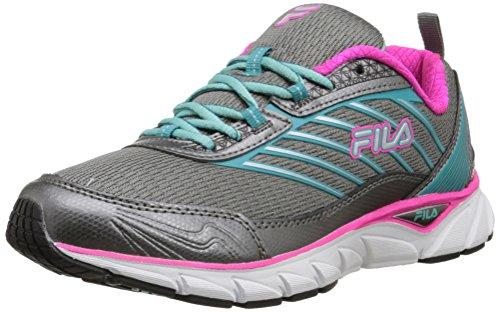 Fila Women's Forward Running Shoe, Dark Silver/Baltic/Pink Glo, 7 M US