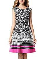 Yacun Women's Polka Dot Stripe Fit-and-flare Midi Pleated Casual Dress