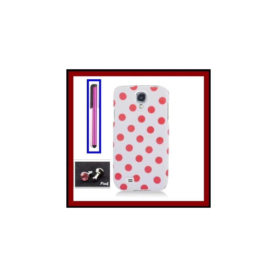 Samsung Galaxy S4 i9500 Glossy Pink Polka Dots White Design Snap on Case Cover Front/Back + Hot Pink Stylus Touch Screen Pen + One FREE Pink 3.5mm Bling Headset Dust Plug