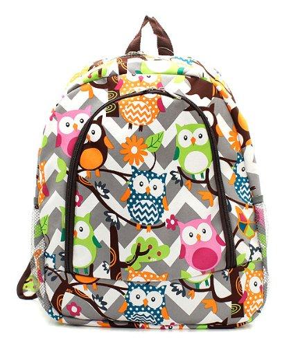 Owl Chevron Stripe Fashion Backpack (BROWN)