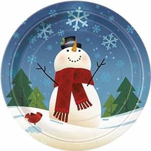 Joyful Snowman Party Plates, pk8