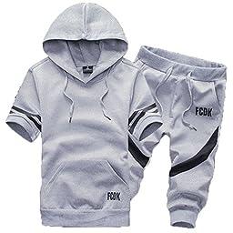 Asali Men\'s Jogger Zip Up Hoodie Cargo Shorts Casual Capri Pants Tracksuit Sweatsuits Gray XL