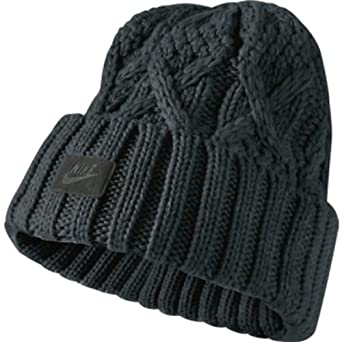 Adults Nike Black Chunky Cable Knit Beanie Hat 424438: Amazon.co.uk: Outlet