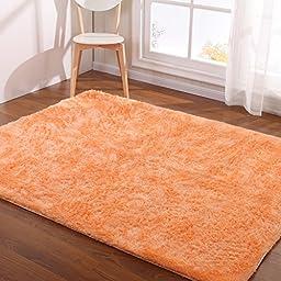 Hoomy Modern Rugs Light Orange Shaggy Floor Mats Foam Solid Living Room Area Rugs Set Nonslip Bedroom Area Floor Rug New 3X6.5