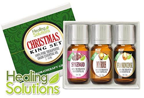 Christmas Kings Essential Oil Gift Set (Organic) 100% Pure, Best Therapeutic Grade Aromatherapy Gift Set - 3/10 Ml (Myrrh, Frankincense, Spikenard)