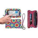 Charm 14 Cell Phone Holder Deluxe Wallet Bag Wristlet - Retail Packaging - Rainbow Tie Die Pink/Blue
