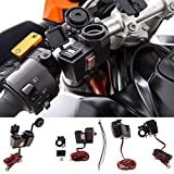 UltimateAddons® Motorcycle 5V 2 Amp Power Supply 2 USB Dual Ports & Cigarette Socket Handlebar Mount