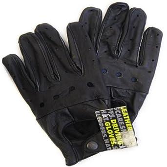 Mens Winter Genuine Black Leather Driving Gloves (M/L)
