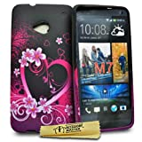 Accessory Master Silicone Cover for HTC One M7 Purple with Floral Motif