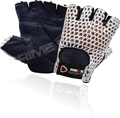 Net Leather Fingerless Glove Gym Training Bus Driving Cycling Gloves Black Leather-white Mesh Cn-401 Medium from PRIME LEATHER