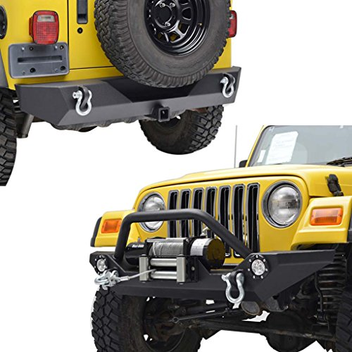 E-Autogrilles YJ TJ Jeep Wrangler Front Bumper with LED Lights and Rear Bumper with Hitch Receiver Combo