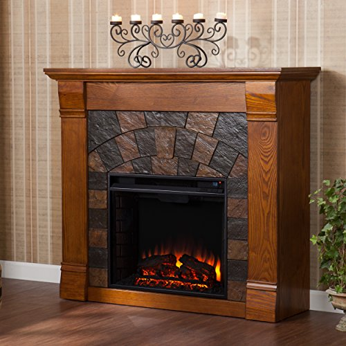 SEI Elkmont Salem Electric Fireplace, Antique Oak