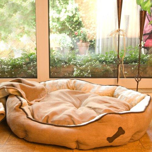 Artikelbild: Hundesofa Gr. XL, 60cm 'Soft-Line' Weiche Mikrofaser ist Waschbar mit edlen Applikationen mit Anti-Rutsch Boden