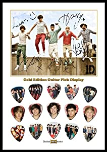 Printed Picks Company One Direction 15 Celluloid Guitar Picks Gold Display from Printed Picks Company