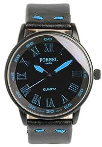[FORBEL]フォーベル 腕時計 ウォッチ ミリタリー 本革 レザーバンド ファッション カジュアル ブルー メンズ