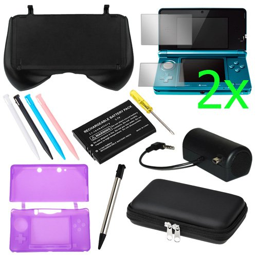 GTMax Black EVA Pouch Case + 4 Colors Stylus + Purple Silicone Case + 2x Clear LCD Screen Protector Film Guard + Black Mini Stero Speaker + Li-Ion Battery + Retractable Metalic Stylus for Nintendo 3DS