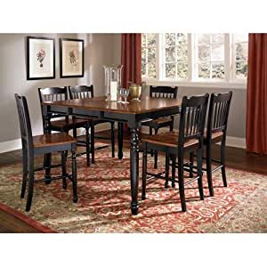solid wood counter height dining set in antique oak black table
