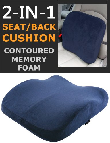 The Memory Foam Contoured Seat & Back Cushion (Blue Velour) - Reduce Back Ache, Improve Posture! (UK DELIVERY ONLY)