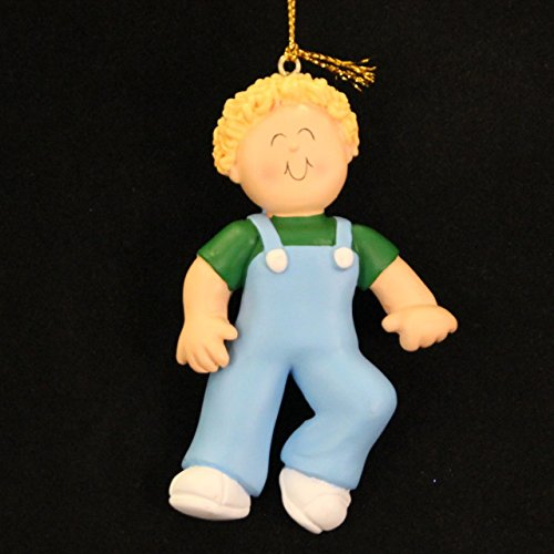 2161 Blonde Boy First Step Personalized Christmas Ornament - 1