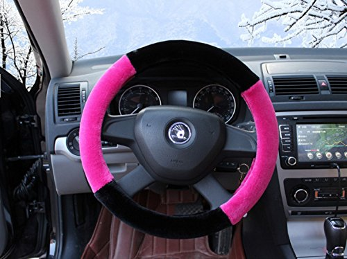 Black and Pink Color Fluffy Soft Touch Plush Fur Car Steering Wheel cover 15