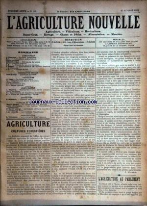 AGRICULTURE NOUVELLE (L') [No 601] du 25/10/1902 - AGRICULTURE PAR MAURION - BERTHOT - TROUDE - VITICULTURE PAR CANU - HORTICULTURE PAR MAGNIEN - ELEVAGE PAR VACHER - BRECHEMIN - GEORGE ET DE LOVERDE - APICULTURE PAR HOMMEIL - ALIMENTATION PAR TRISTCHIER francais