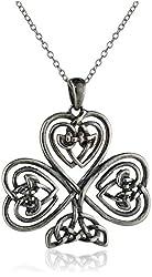 "Sterling Silver Celtic Heart Knot Clover Pendant Necklace, 18"""