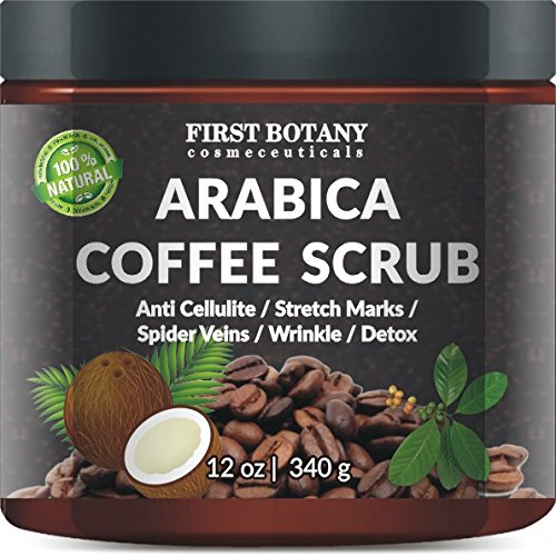 100% Natural Arabica Coffee Scrub 12 oz. with Organic Coffee, Coconut and Shea Butter - Best Acne, Anti Cellulite and Stretch Mark treatment, Spider Vein Therapy for Varicose Veins & Eczema (Varicose Vein Removal compare prices)