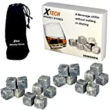 Xtech Whiskey Stones 100% Pure Soapstone Chilling Rocks with Muslin Carrying Pouch in Gift Box (Set of 18)