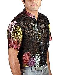 Riverbero Men's Casual Kurta Silk Shirt (SN_DHS_209_Black_42)