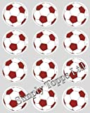 12 Red Football rice paper cup cake toppers 40mm decoration By Simply Topps
