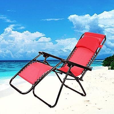 Ancheer Sonnenliege Gartenliege Strandliege Sitz-/Liegepositionen ,klappbare Sonnenliege Relaxliege Liegestuhl Klappliege Stahl,177x68x87-110cm,Belastung:130kg von Ancheer - Gartenmöbel von Du und Dein Garten