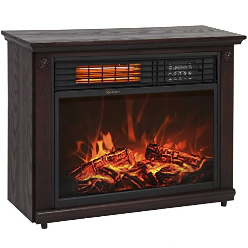 Best Choice Products Large Room Infrared Quartz Electric Fireplace Heater Dark Walnut Finish w/ Remote (Wireless Electric Heater compare prices)