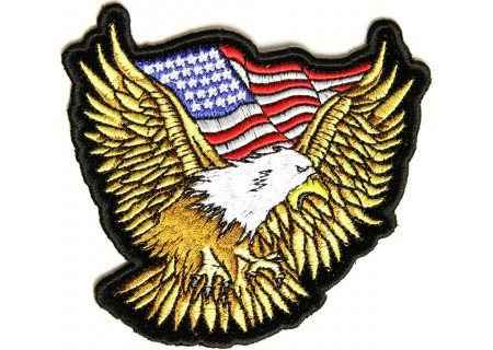 Embroidered Iron On Patch - Golden Eagle with US Flag 3.5