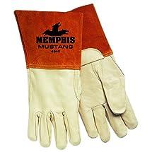 MCR Safety 4940S Mustang Premium Grain Cow MIG/TIG Welder Men's Gloves with Bell Split Cow Cuff, Cream, Small, 1-Pair