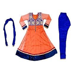 Pintoo Apparels Girls Orange Traditional Salwar Set for 7-8 Years