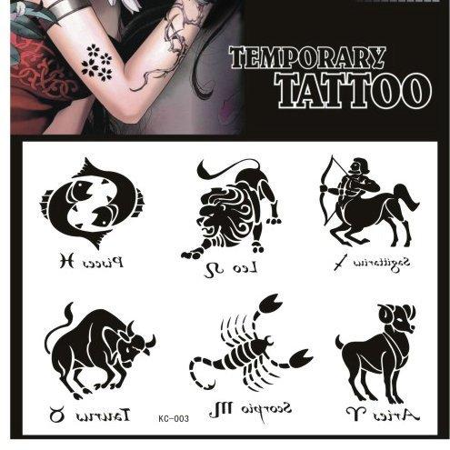 SYZ Beauty Waterproof Temporary Tattoos Constellation Pisces Leo Sagittarius Taurus Scorpio Aries Tattoos