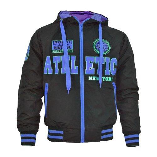 Mens Baseball Hooded Jacket Athletic Baseball Jacket Sizes UK Blue XL