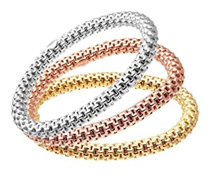 Glamour-us Gold Plated Silver 3 Colour Brick Link Stretch Bracelet Set of Three 19cm long