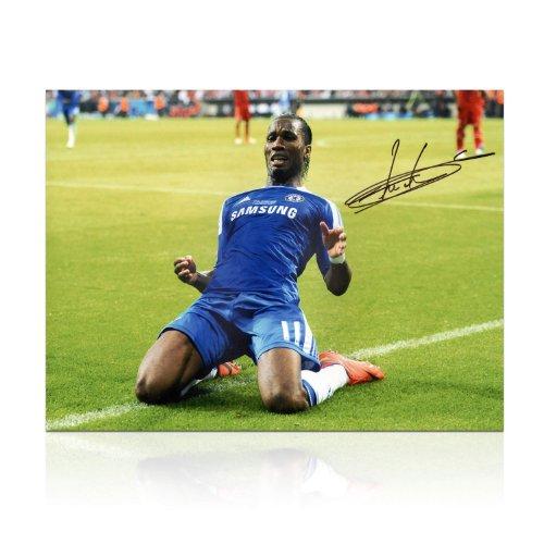 Didier Drogba Signed Chelsea Soccer Photo: Champions League Celebration