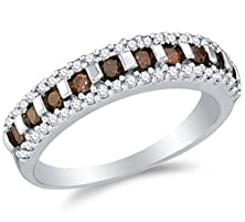 buy Size 6 - 10K White Gold Chocolate Brown & White Round Diamond Wedding Band Ring - Channel Setting (1/2 Cttw.)