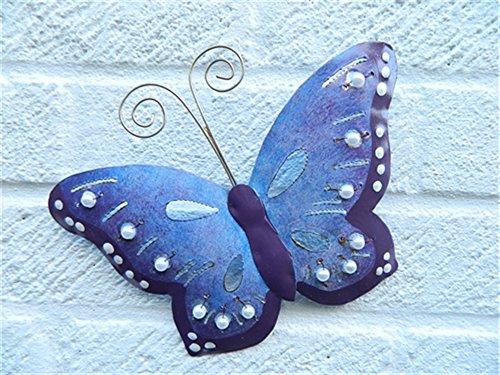 Metal Wall Art Butterfly Butterflies Set of 3 - Purple